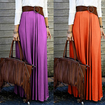 Simple Fashion Pure Color Long Skirt