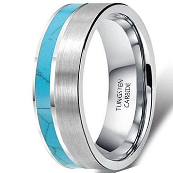 6mm Tungsten Turquoise Vintage Wedding Engagement Ring Band (Platinum)