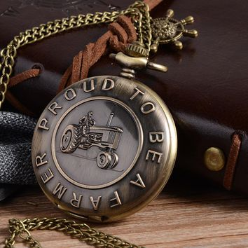 Cindiry 2017 New Proud To Be a Farmer Quartz Pocket Watch Men Women Gift With Chain P20