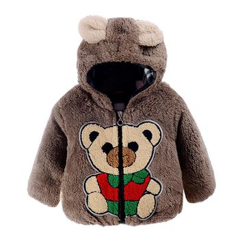 Fashion infant girls Baby boys overcoat Bear Winter Hooded Cotton Kids Clothing Coat Cloak Jacket Thick Warm Clothes