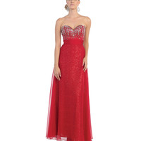 Red Strapless Sweetheart Embellished Bodice Dress 2015 Prom Dresses