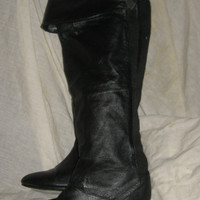 vintage black leather  Women Over the Knee High Flat cuff boots  sz 7 m