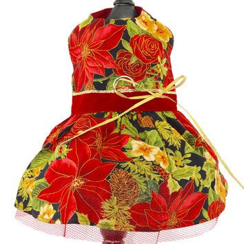 Christmas Poinsettia Dog Harness Dress