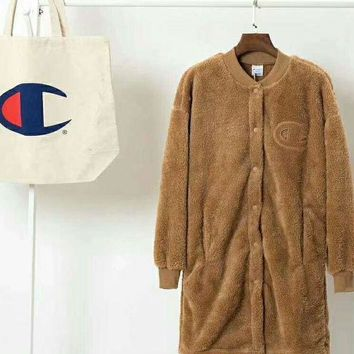 CREYV9O Champion Bust Logo Women Girl Thick Velvet Long Coat Jacket Wool Brown B-XS-FSYWZY