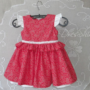 Baby girl red floral and white cotton dress and bloomers with lace organic cloth Age 12 month First birthday outfit