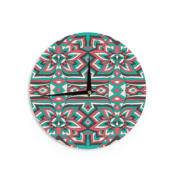 "Pom Graphic Design ""Ethnic Floral Mosaic"" Teal Red Wall Clock"