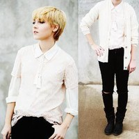 Tassel Necklace, Peach Lace Top, Silk Button Up From D.I., Black Skinnies //    CHOPPED  by Alexandra J // LOOKBOOK.nu