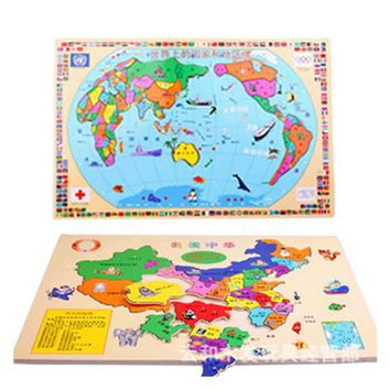wooden world map puzzle wooden children early learning China puzzle educational Kids toys W131