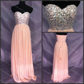 Custom dress sweetheart chiffon The last 10 Dresses Cheapest with crystal beads