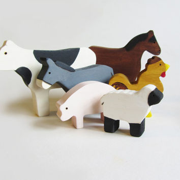 Wooden Farm Animals Waldorf Eco Friendly Toy by Imaginationkids