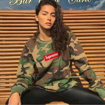 LMFC8S SUPREME camouflage men and women with a hoodie collar shirt pullover G