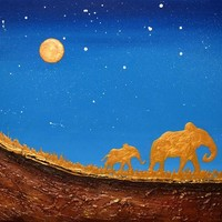 "View: original abstract landscape ""Golden elephants in Starlight Valley"" gold africa animal elephant painting art canvas - 16 x 20"" 