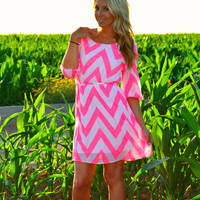 COMING HOME PINK CHEVRON DRESS