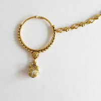 Bridal Gold Wedding Non Pierced Ear Nose Ring