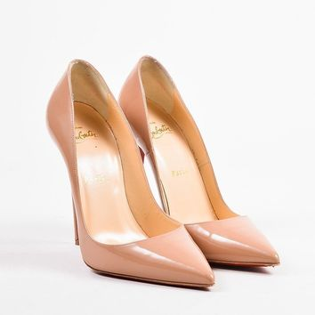 DCCK Christian Louboutin Nude Patent Leather   So Kate 120   Pointed Toe Pumps