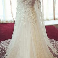 Popular lace beaded original palace crystal wedding dress 2015 new luxury Princess Bride wedding dress