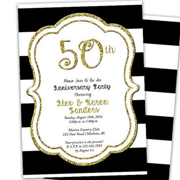 Golden 50th Anniversary Invitations - Striped Wedding Anniversary Party Invitation - Gold and Black - 60th - 40th - ANY Anniversary