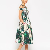 ASOS Midi Prom Dress In Large Bright Floral