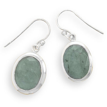 Oval Rough-cut Emerald French Wire Earrings