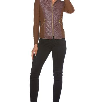 Maxime Fleece Zip-Up Jacket for Women with Nylon Quilting Front Panel in Brown