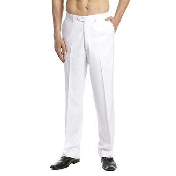 New Arrival Custom Made Men's Dress Pants Trousers Flat Front Slacks Solid WHITE Men Suit Pants Party Pants Wedding pants