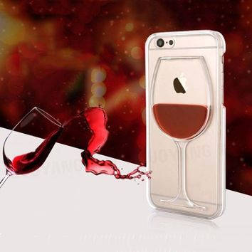 Hard Liquid Fluid Red Wine Glass Back Cover Quicksand Transparent Phone Case For iPhone SE 5 5S 6 6S Plus 7 7Plus 8 8Plus
