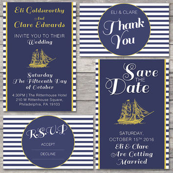 Wedding Invitation Suite Printable Custom DIY Do It Yourself Nautical Stripes Navy Gold Beach Wedding Save the Date RSVP Thank You Card