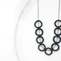 Long black minimal necklace, polymer clay, circles wax cotton cord