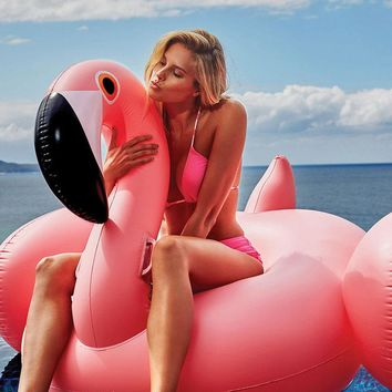 150CM 60 Inch Giant Inflatable Flamingo Pool Float Pink Cute Ride-On Outdoor Toy Adults Children Water Holiday Fun Party Toys