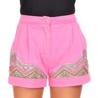 Pink Border Embroidery Short- Buy Manish Arora Paris S/S'14 - RTW Online | Manisharora.com