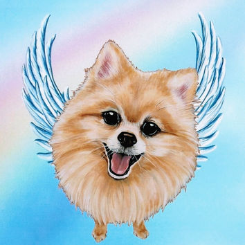 Pomeranian Angel - Pomeranian Art - Dog Angels - Pomeranians - Guardian Angels - Pet Memorial - Rainbow Bridge - Weeze Mace - 8x10