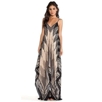 Women's Long V-Neck Sling Bohemian Print dress = 1876593988