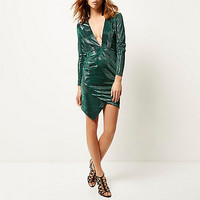Green metallic plunge bodycon dress