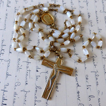 Vintage French Mother Of Pearl Rosary