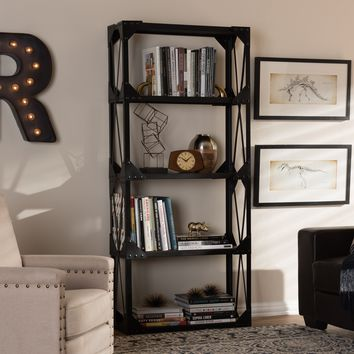 Baxton Studio Hudson Rustic Industrial Style Antique Black Textured Finished Metal Distressed Wood Tall Shelving Unit Set of 1