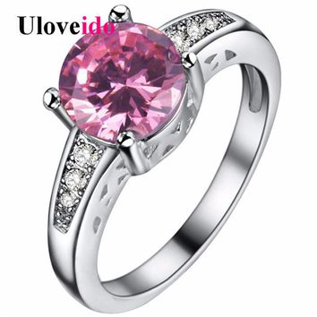 Uloveido 5% Off Cubic Zirconia Pink Round Rings for Women Ring Female Silver Color Wedding Jewelry Alibaba-express Bijoux PJ153