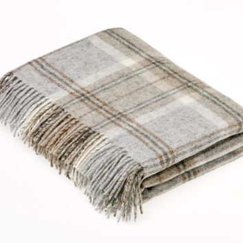 Naturally Bronte Shetland Quality Pure New Wool Grey Aysgarth Throw Blanket