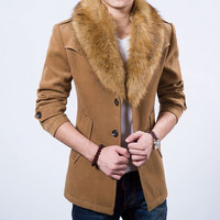 Slim Fit Men Wool Coat with Fur Collar