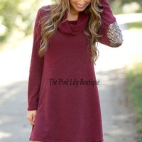 Come To Me Sweater Dress Burgundy