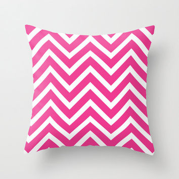 Velveteen Fuchsia Chevron Pillow - Valentine's Day - Pink Throw Pillow - Housewares - Home Decor - Teen Room Decor - Girls Bedroom
