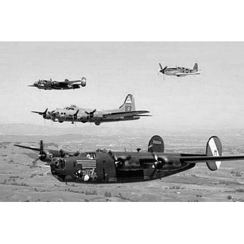 Ww2 Plane Formation poster Metal Sign Wall Art 8in x 12in Black and White