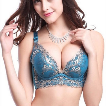 young women sexy lingerie bra adjustable gold embroidery Pteris push up bra = 1931935940
