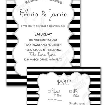 Modern Black and White Striped Background Design Printable Wedding Invitation and Matching RSVP Card