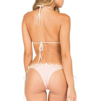 Lolli Swim Pink Crochet Bottom - Pink Pearl