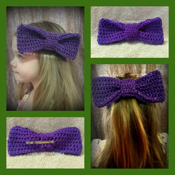 Purple Sparkle Oversized Bow Barrette (crochet, clip, large, hair)