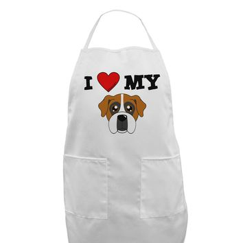 I Heart My - Cute Boxer Dog Adult Apron by TooLoud