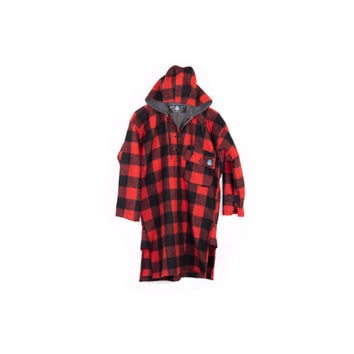 100% wool poncho / red and black buffalo plaid flannel / Swandri Bush Shirt / hood / tartan / hunting / outdoors / rugged / mens small