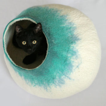 Cat Bed / Cave / House / Vessel - Hand Felted Wool - Teal Bubble - Crisp Contemporary Design