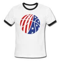 USA Basketball Men's Ringer T-Shirt - Men's Ringer Custom Tshirts