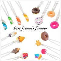 MJartoria Best Friends Forever Food Theme Friendship Necklaces Set of 16